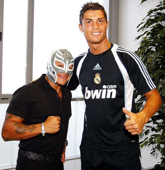 WWE star Rey Mysterio with Ronaldo as they visit Valdebebas in Madrid.