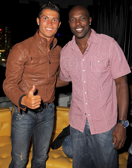 Ronaldo and Terrell Owens at a party in Hollywood.