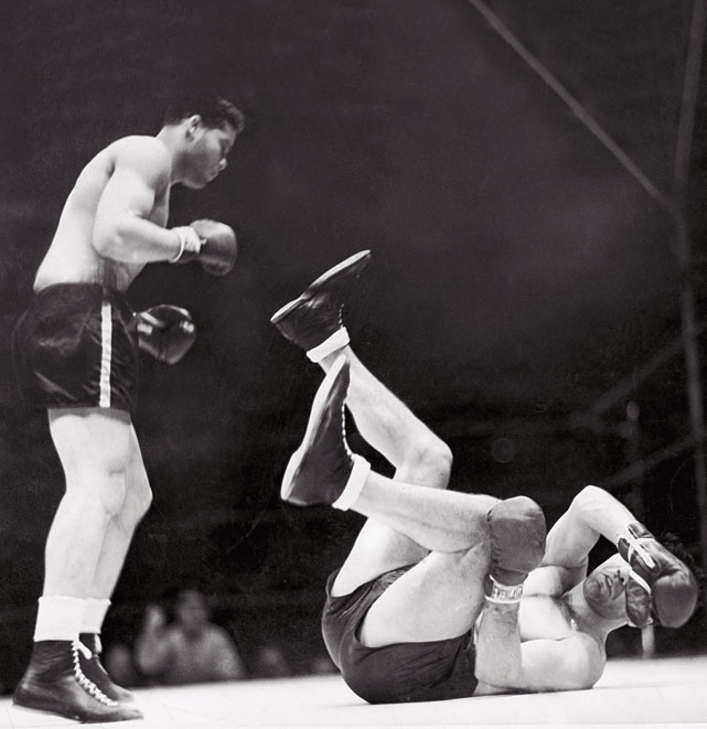 Two years after suffering the lone defeat of his prime at the hands of Schmeling -- the German puncher who'd been cast as an example of Aryan supremacy -- Louis responded with an emphatic first-round knockout before more than 70,000 fans.