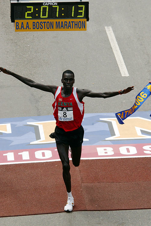 The most widely-viewed sports event of the year in New England is the Boston Marathon. About a half-million spectators catch a glimpse of the runners each year as thousands pack the sides of the winding course. In 2010, Kenyan runner Robert Kiprono Cheruiyot set the men's course record with a time of 2:05:52, and Ernst van Dyk of South Africa won the men's wheelchair marathon for the ninth time -- the most by any athlete in any category.  Send comments to siwriters@simail.com.