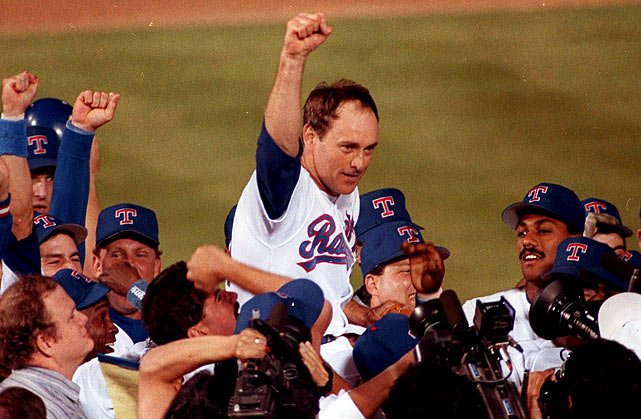 On May 1, 1991. against the Blue Jays, 44-year-old Rangers fireballer Nolan Ryan set what may be an unbreakable record by pitching his seventh no-hitter. It came 18 years after his first.