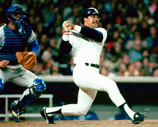 "The Yankees held a 3-2 series lead over the Dodgers when the 1977 World Series headed back to New York. After spotting Los Angeles a 2-run first-inning lead, the Yanks roared back thanks to one of the greatest hitting performances in World Series history from outfielder Reggie Jackson. Mr. October, as he would come to be named, hit home runs in the fourth, fifth and eighth innings -- each on the first pitch of the at-bat -- prompting the  crowd to chant ""Reg-gie! Reg-gie!"" and giving the Yankees their 21st World Series title."