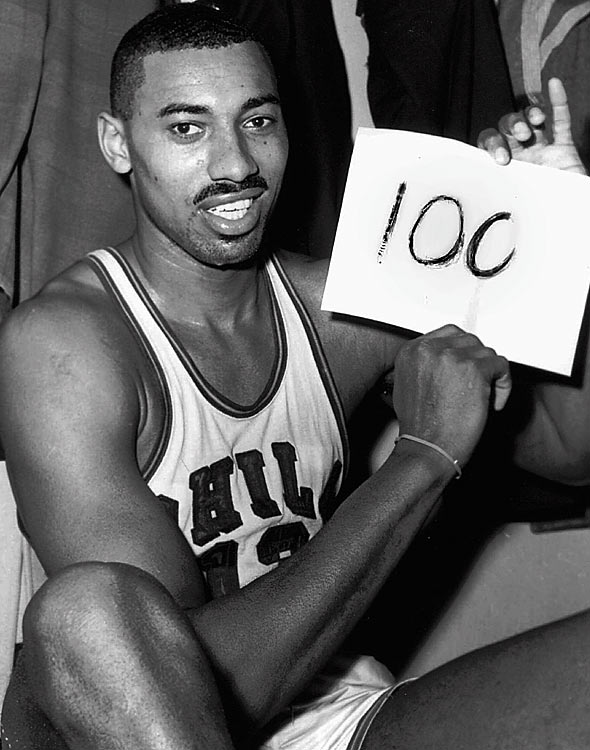 An otherwise mundane regular-season matchup between the Philadelphia Warriors and New York Knicks at Hersheypark Arena on March 2, 1962, instantly became the most legendary non-playoff game in NBA history, thanks to the man known by one name: Wilt. By halftime, he had scored 41 points and his Warriors led 79-68. With about eight minutes left in the fourth quarter, he broke his own single-game scoring record with his 79th point. Despite the Knicks' best efforts to avoid embarrassment, Wilt finished with 100 points, the single-greatest scoring performance in history.