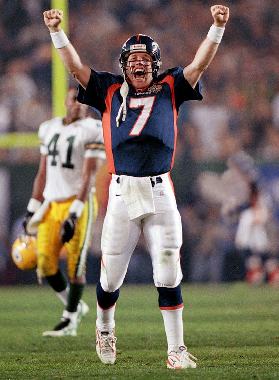 Ten years after the Broncos lost to the Redskins in Super Bowl XXII, John Elway and company finally got it right in San Diego. Despite being a huge underdog to the Packers and QB Brett Favre, Denver won 31-24 behind running back Terrell Davis' 157 rushing yards and three touchdowns. Davis, a San Diego native, took home the game's MVP honors despite battling a migraine headache in the first half. The Broncos' won their first Super Bowl after four failed attempts.
