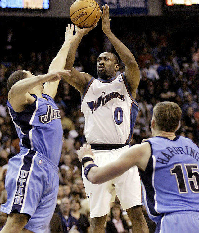 Capping a 51-point performance, Gilbert Arenas hit a 3-pointer in the final seconds to deliver a 114-111 win over the Jazz in January 2006. The shot was Arenas' second buzzer-beater, the first coming only days earlier against the Milwaukee Bucks.