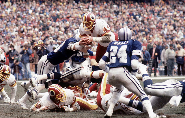 "The Redskins, led by John Riggins and the team's offensive line (affectionately nicknamed ""The Hogs""), earned a trip to Super Bowl XVII by beating the rival Dallas Cowboys 31-17."