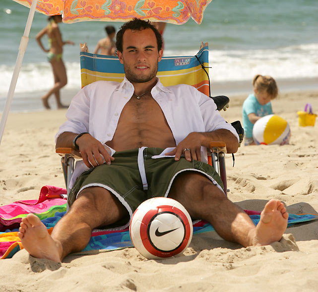 Donovan unwinds at the beach during an SI photo shoot.