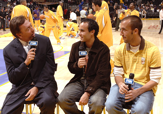 Donovan and Los Angeles Galaxy teammate Peter Vagenas are interviewed before a Lakers-Knicks game in L.A.