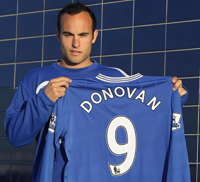 Donovan holds up his jersey after joining Everton on a two-and-a-half-month loan from the Los Angeles Galaxy.