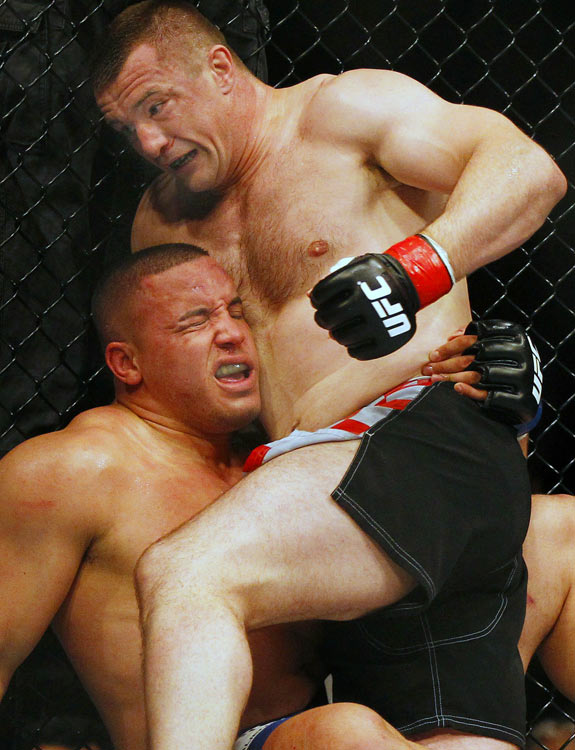 "UFC fighter Mirko ""Cro Cop"" Filipovic punches Pat Barry en route to a win in UFC 115 at General Motors Place on June 12 in Vancouver."