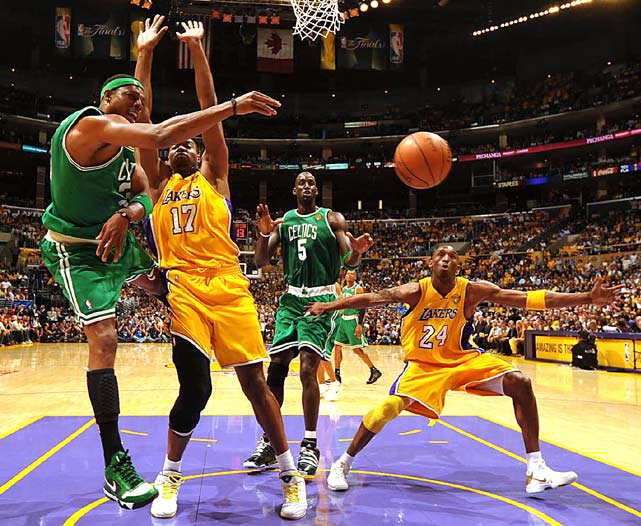 Boston Celtics Paul Pierce passes during Game 7 of the NBA Finals in Los Angeles.
