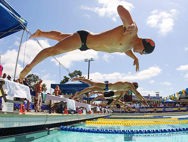 Robert J Barton of the Tiger-PC Swim Club is airborne during the fourth heat of the 50m freestyle June 19 during the Santa Clara International Grand Prix.