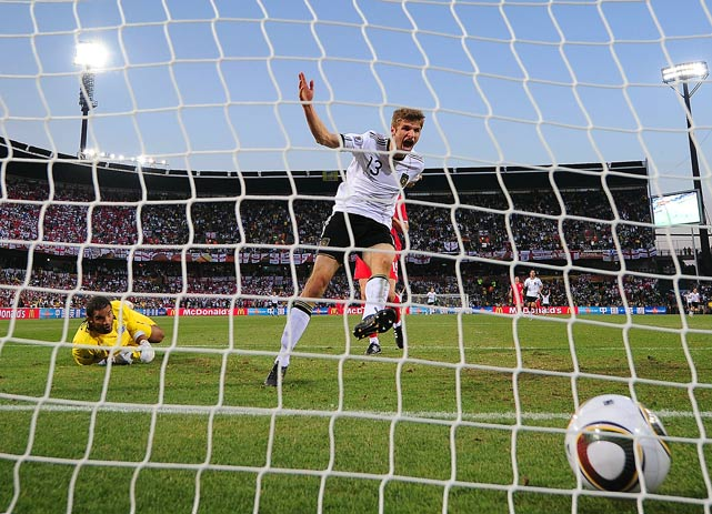 German forward/midfielder Thomas Mueller emphatically delivered the final goal of a 4-1 World Cup victory over England in Bloemfontein, South Africa, on June 27. The 20-year-old Mueller beat goalkeeper David James twice in the second half as Die Mannschaft advanced to face Argentina in the quarterfinals.