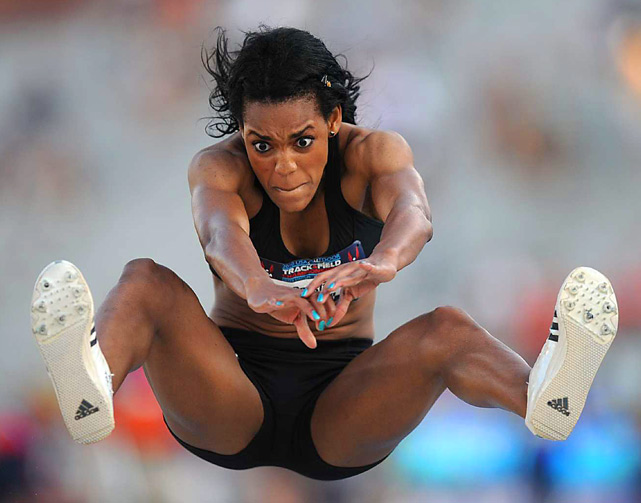 Crystal Manning eyes a landing spot for her triple jump at the USA Outdoor Track and Field Championships. Manning finished in 14th place. Erica McLain won the event on June 24.