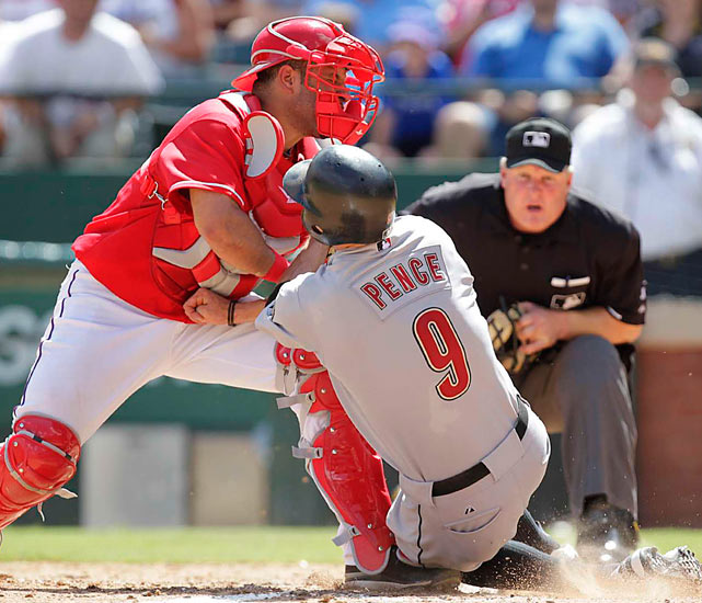 Ranger catcher Max Ramirez tags out Houston's Hunter Pence at the plate during Texas' 7-2 interleague home victory on June 26.