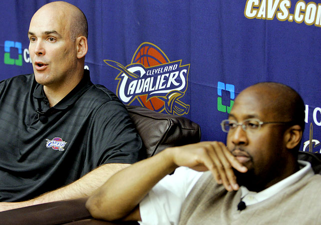 After being named coach of the year in 2008-09 and leading the Cavs to back-to-back 60-win seasons, Mike Brown (far right) was let go after a second-round playoff loss.   Shortly after Brown was fired, GM Danny Ferry announced his resignation. The Cavs remain without a head coach or GM as July 1 and the opening of free agency nears.