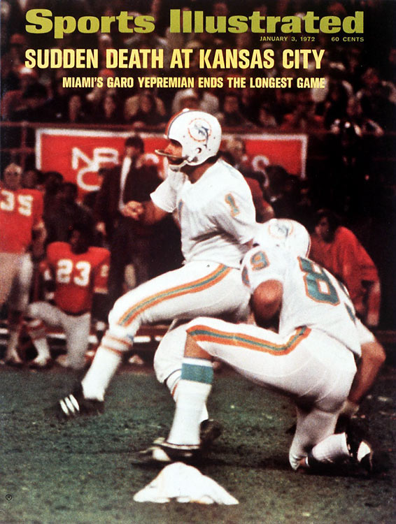 A playoff classic in K.C. that lasted a record 82 minutes 40 seconds before Garo Yepremian's 37-yard field goal gave the Miami Dolphins a 27-24 win. Of particular bitterness for the home crowd was the fact that Chiefs kicker Jan Stenerud missed a 31-yarder with 35 seconds left in regulation and then had a 42-yarder blocked in the first OT.