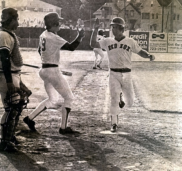 The two teams began on a cold night at McCoy Stadium in Pawtucket and play had to be suspended at 4:09 a.m. with the score tied at 2-2. The game, which ultimately lasted 8 hours 25 minutes, could not be resumed until June 23 when Dave Koza drove in Marty Barrett for a 3-2 Pawtucket Red Sox victory. Notable participants in the contest were Cal Ripken Jr. (Rochester) and Wade Boggs (Pawtucket), who is seen in this photo.