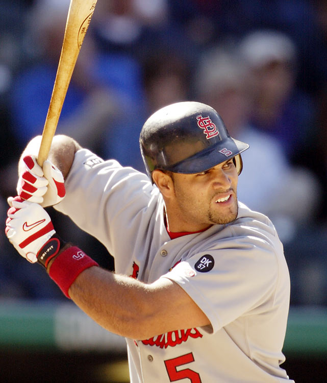 Pujols started in left field for the Cardinals on Opening Day 2001 against the Rockies. He picked up his first hit in the seventh inning, but was caught stealing and finished the day 1-for-3 from the plate. He went on to have one of the best rookie seasons in baseball history, finishing at .329 with 37 home runs and 130 RBIs.