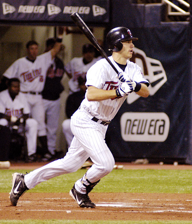 The reigning AL MVP hit eighth and was behind the plate on Opening Day 2004, but after going 2-for-3 in his debut, Mauer played just one more game before a knee injury sidelined him for a month.