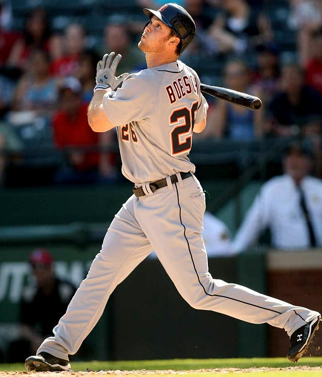 "The Tiger's thrid-round pick in 2006 from Cal has taken a little while to get to the Major Leagues, but he has been worth the wait for Jim Leyland's team. As of June 23, the 6'6"" Boesch was batting .337 with 11 HR and 39 RBI. He's taking his walks, getting on base almost 40% of the time and was slugging .624."