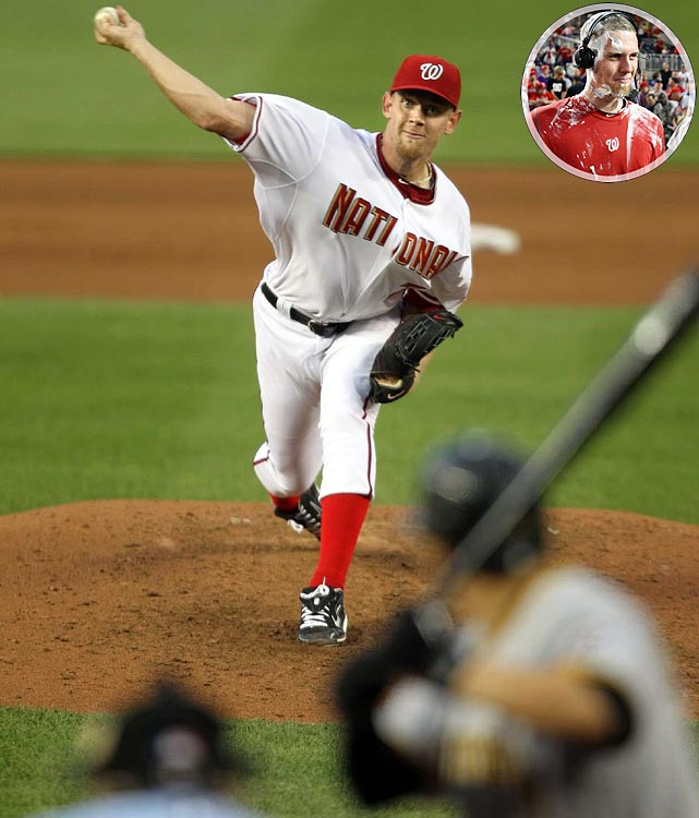 In perhaps the most hyped pitching debut in baseball history, Strasburg, the No. 1 pick in the 2009 draft, electrified a sold out crowd at Nationals Park by striking out 14 and walking none in eight innings of four-hit ball. It was the most strikeouts ever without a walk in a major league debut and the second-most K's by a pitcher in his first game. Strasburg struck out the final seven batters he faced. Through his first two big league starts, Strasburg was 2-0 with a 2.19 ERA and 22 strikeouts against just five walks.