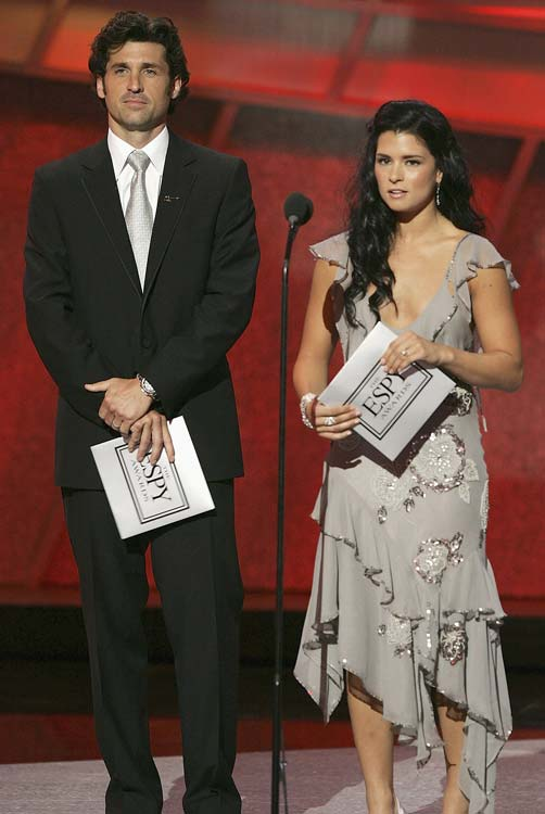 Patrick and fellow racer/actor Patrick Dempsey present the award for Best Male and Female Olympic Performance at the 2005 ESPYs. Patrick would be nominated for Best Female Athlete in 2008, but would lose out to L.A. Sparks player Candace Parker.