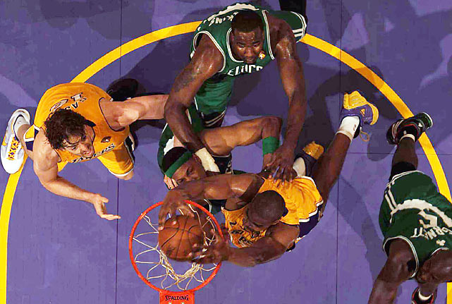 Bynum and Gasol proved too tough for the Celtics inside as they outrebounded Boston 42-31.