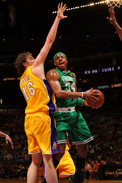 After he and Ron Artest picked up double technicals in the opening minute, Paul Pierce went on to finish with 24 points and nine rebounds.