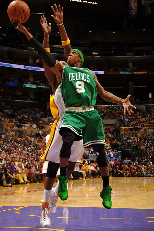 Rondo blew past L.A.'s defense for most of the night, notching a triple-double (19 points, 12 rebounds, 10 assists) and adding a hint of style with his neon green sneaks.
