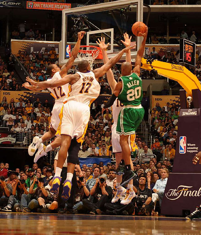 L.A. often needed up to three defenders to stop Ray Allen, who put on a show like it was 2005, scoring 32 points. Allen poured in an NBA Finals-record eight three-pointers.