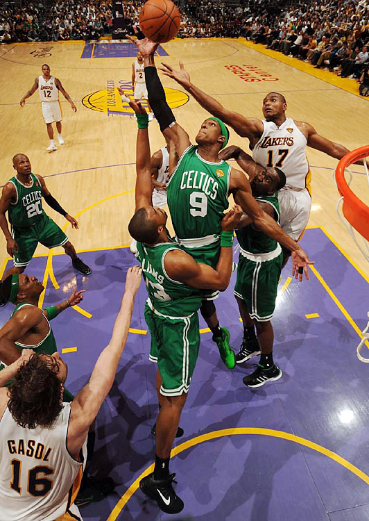 Rondo showed off his leaping ability and ridiculous wingspan as he skied for rebounds above L.A.'s pair of seven-footers (and his own teammates).