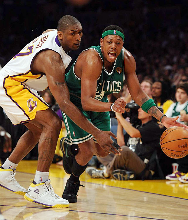 Ron Artest neutralized Boston's leading scorer Paul Pierce, holding him to 10 points in 40 minutes, but the rest of the game's matchups favored the Celts.