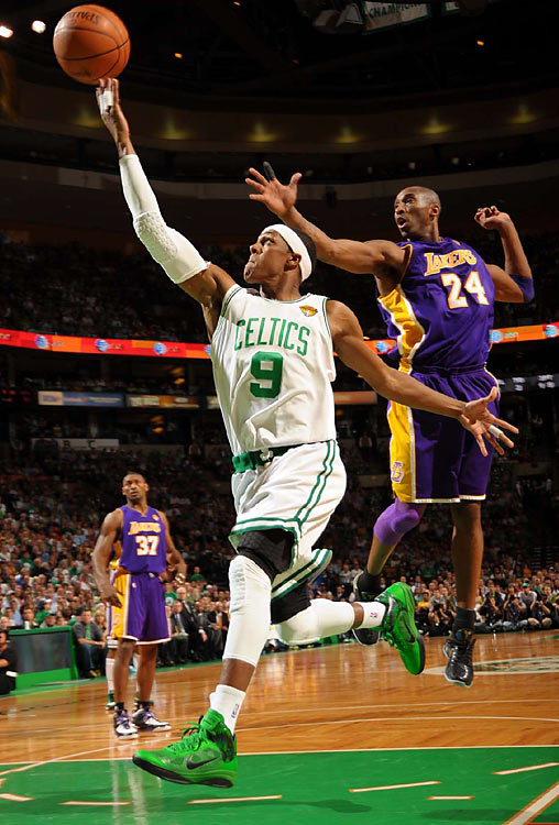 Celtics point guard Rajon Rondo failed to match his monster Game 2, but still scored 11 points and dished out eight assists, despite being hounded by Bryant much of the night.