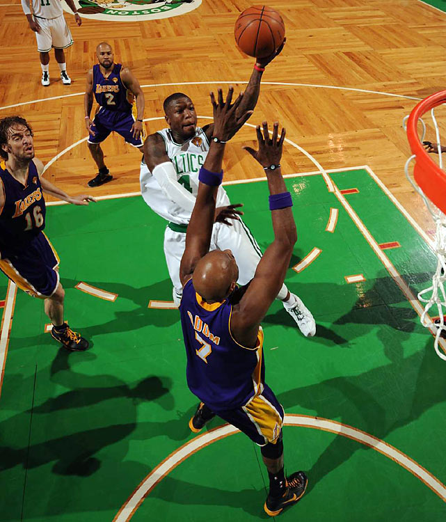 Boston's mini-sparkplug Nate Robinson scored 12 points in 17 minutes, most of which came in the fourth quarter, when the Celtics bench took over the game and put the Lakers away without the aid of the team's starters.