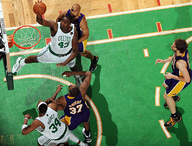 Celtics center Kendrick Perkins had a quiet night, chipping in just six points in 25 minutes. Still, Boston scored 54 points in the paint (L.A. scored just 34).