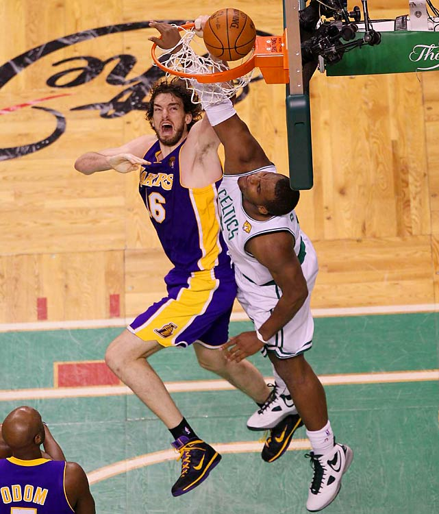While Gasol has been strong throughout the series, and tallied 12 points and 12 boards Sunday, he struggled against the Celtics' bigs and was clearly not the Lakers' offensive priority.