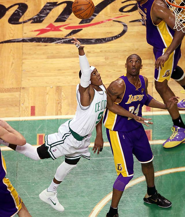 In the final minute of the game, with the Lakers in a full-court press, an inbounds pass went to a streaking Pierce down the sideline. He managed to make the catch and tip-toe inside the sideline before hurling a line-drive pass to Rondo, who then made a spectacular catch-and-finish.
