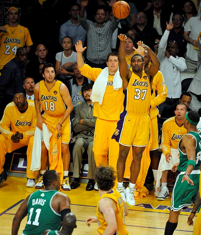 Ron Artest, the only Lakers' starter who doesn't own a championship ring, found his rhythm in Game 6, drilling half of his team's six threes, while shackling Paul Pierce for five turnovers and 13 points.