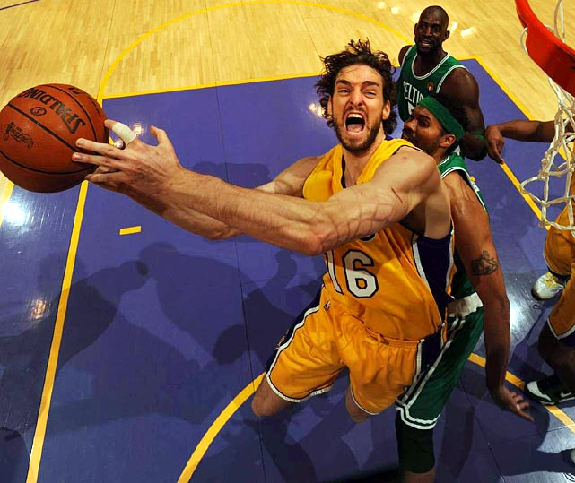 """Since 2008, Pau Gasol had been criticized for being """"soft"""" against Kevin Garnett. But in this year's Finals, the 7-foot Spaniard got the best of his Celtic counterpart, tallying 19 points, 18 rebounds, four assists and two blocked shots in Game 7."""
