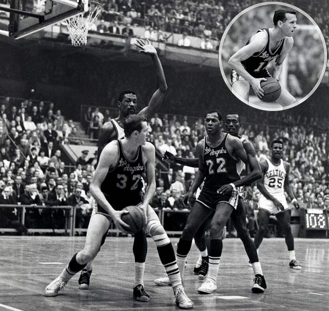 In the midst of winning eight consecutive championships, the Celtics escaped in overtime at Boston. The Lakers had an opportunity to win it in regulation, but Frank Selvy (inset) missed a mid-range shot in the closing seconds.