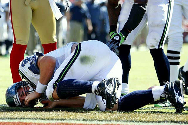 Matt Hasselbeck's bouts with injuries began in 2006 with the Seahawks, when he missed four games because of an MCL sprain suffered when Vikings linebacker E.J. Henderson rolled into his leg. In his return against the Packers, Hasselbeck broke a finger in his non-throwing hand but did not miss any time, leading the Seahawks to the divisional round of the playoffs. He played in only seven games in 2008 after being diagnosed with a bulging disk in his back that also affected a nerve that weakened his leg. And last season, he was out for two games after fracturing two ribs against San Francisco.