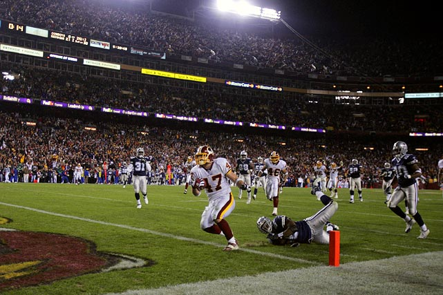 "Cooley has had many colorful nicknames bestowed upon him, such as ""Johnny White Guy,"" by Clinton Portis in a 2004 press conference. Before one game against St. Louis, Cooley introduced himself at the coin toss as ""Captain Chaos.""  In his second season in 2005, Cooley broke the Redskins' record for receptions by a tight end (71). That year, he became a bona fide receiving threat, with the highlight of his season coming in a three-touchdown performance against the rival Cowboys."
