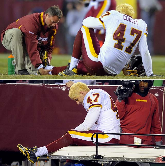Cooley's 2009 season was cut short when he suffered a broken ankle in a Week 7 Monday night contest against the Eagles. He was placed on injured reserve in November and missed the remainder of the season. It was the first time in his six-year career that he hadn't played in all 16 of his team's contests.