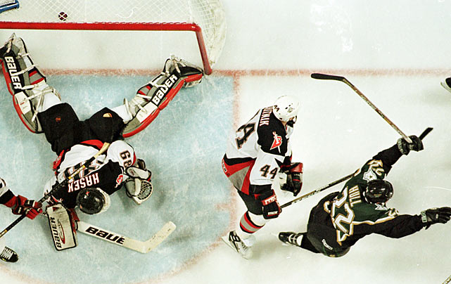 "Brett Hull's controversial ""foot in the crease"" goal in triple OT of Game 6 vs. Buffalo made the Stars, a franchise that had migrated from Minnesota, the first southern-based U.S. team to win the Cup."