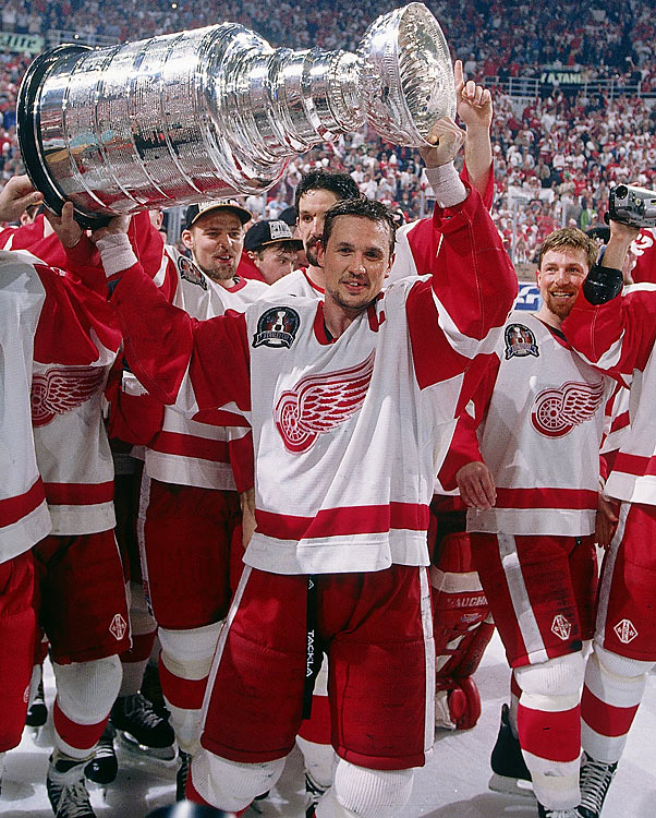 After 42 years, including a desolate stretch from 1966-83 during which they were derided as The Dead Things, Detroit was finally led to the Cup by its dynamic captain, Steve Yzerman. Goaltender Mike Vernon earned the Conn Smythe after the Red Wings' sweep of the Flyers.
