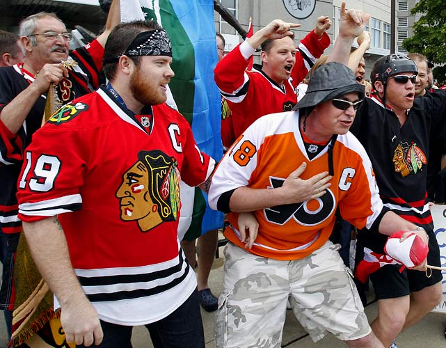 The Blackhawks and Flyers have big, passionate fan bases that haven't been shy about expressing themselves as their teams battle for the Stanley Cup.