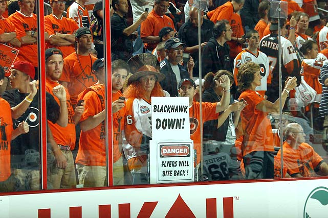 Flyers fans reveled after the Blackhawks fell in Games 3 and 4 in Philly.