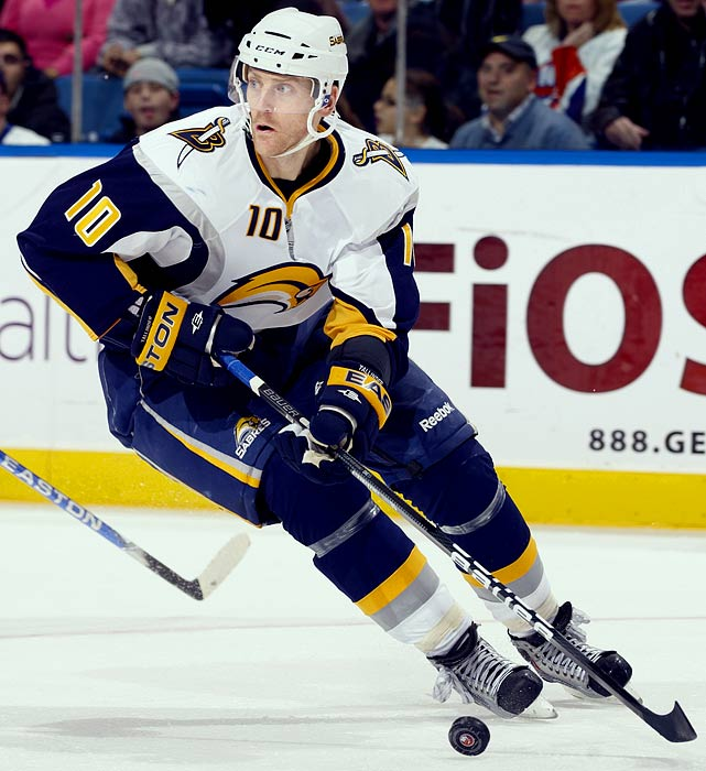 Signed with New Jersey Devils (5 years, $13.5 million)  Eight-year veteran has size (6-3, 214) and shutdown capability as well as some offensive potential.    2009-10 stats (Buffalo):   82 GP  4 G  16 A  20 Pts