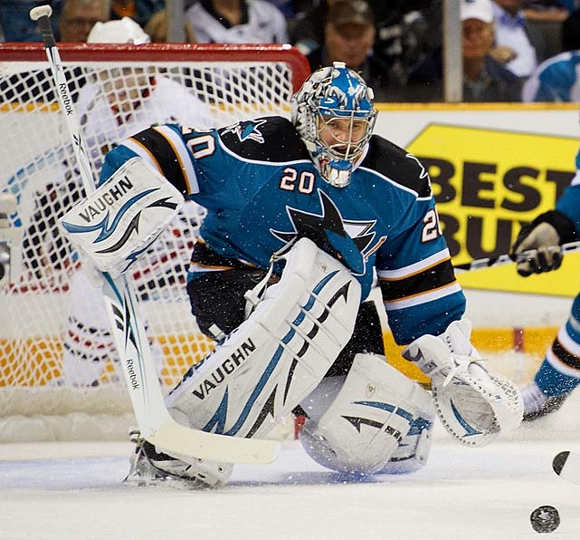 Usually considered one of the league's top netminders, but his inability to carry the perennially underachieving Sharks to the Stanley Cup Final poses a rather large question mark.   2009-10 stats (San Jose):   71 GP  44 W  16 L  10 OTL  2.43 GAA  .922 SV%